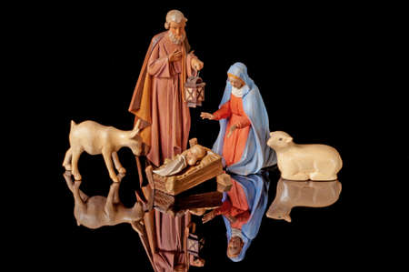 Christmas Nativity with Manger Animals and Reflective Background