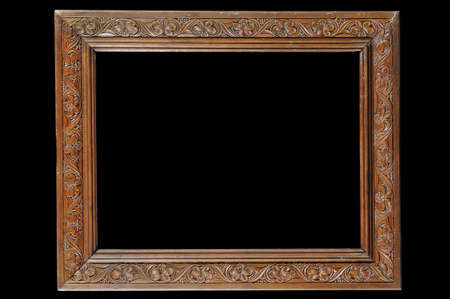 Antique carved wooden frame with flower pattern
