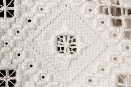 openwork: Antique Openwork Lace Christening Blanket from Norway with Geometric Designs