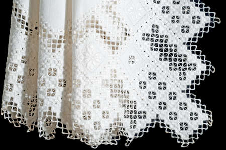 Antique Openwork Lace Christening Blanket from Norway with Geometric Designs
