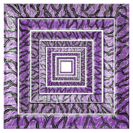 Square Purple Variegated Concentric Frames with Grey Veins
