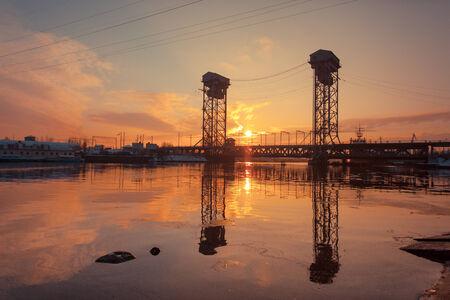 bridged: Double-deck bridge in Kaliningrad, Russia Stock Photo