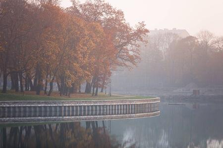 superior: Embankment of Lake Superior in a morning fog. Kaliningrad, Russia