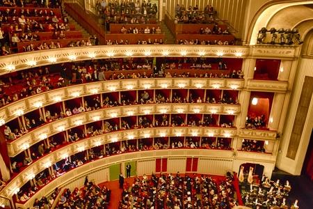 Balconies of Vienna Opera House indoor, Austria Editorial