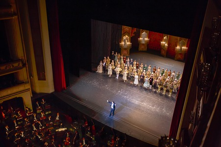 Stage of Vienna state opera, Austria, editorial photo Editoriali