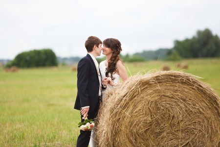 農村フィールドの干し草の近くの新郎新婦 写真素材
