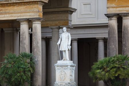 bowman: Statue in facade of palace in Sans Souci, Potsdam, Germany