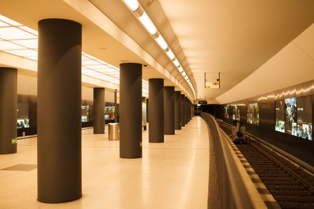 stating: Subway Brandenburger Tor station view in Berlin, Germany