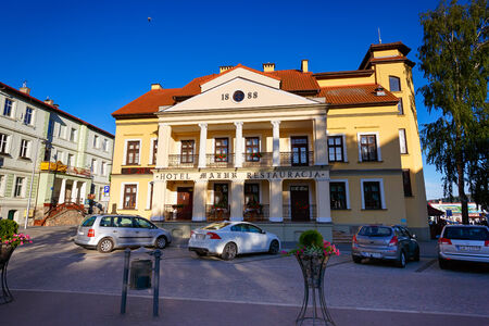 Mikolajki, Masuria, Poland, June 12 2014: The main square in the town, the Masurian Lakes district in Northern Poland.