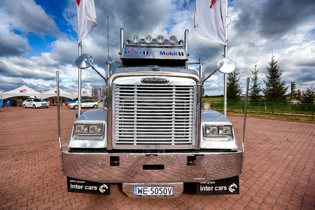 Mikolajki, Masuria, Poland, June 12 2014: Exhibition of trucks at the hotel Golebiewski, the Masurian Lakes district in Northern Poland