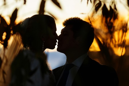 夕暮れ時の結婚式のカップルのロマンチックなシルエット
