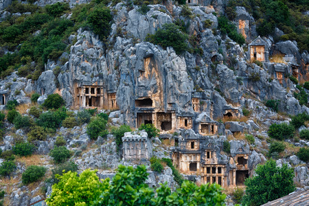 history: Ancient burial place of Myra in Turkey Stock Photo