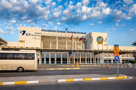 Antalya, Turkey, May 06 2014: View of the building of airport at the morning time Publikacyjne