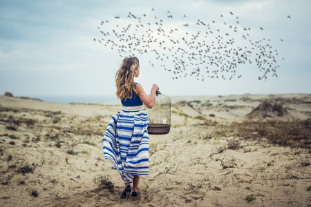 freedom woman: Girl standing in the desert and looking at a flock of birds in the sky