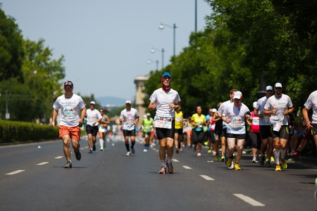 Budapest, Hungary, June 14 2015: Half marathon and marathon on the biggest relay run event of Central-Eastern Europe Editorial