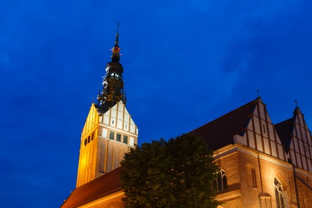 st nicholas cathedral: Tower of St. Nicholas Cathedral in Elblag Poland Stock Photo