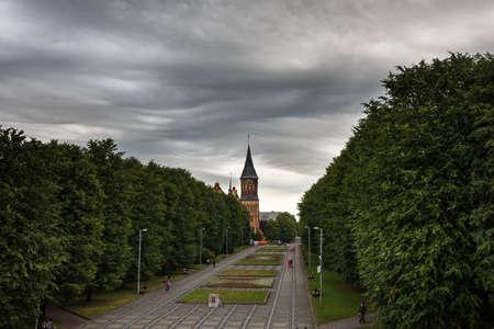 lurid: Dark clouds asperatus before the storm over city Stock Photo