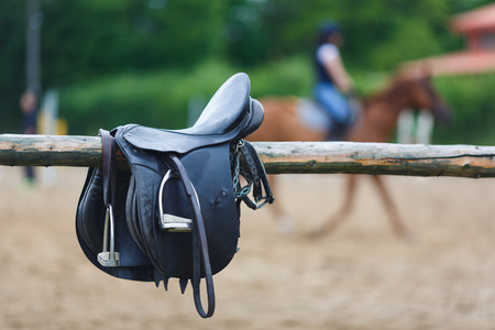 A leather saddles horse in a stable at the summer time Stok Fotoğraf - 44084238