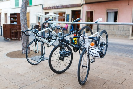 parked bikes: Santanyi, Mallorca, Spain - July 02 2014: Sport bikes parked near the cafe at the summer time