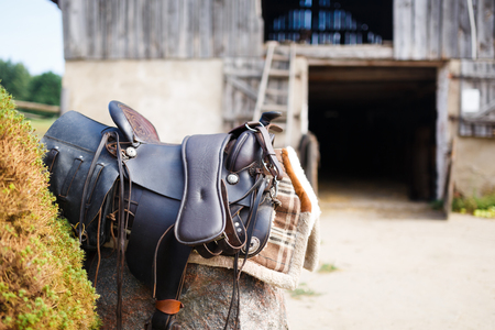reigns: Old ornamental saddle on the stone outdoor at the summer time Stock Photo