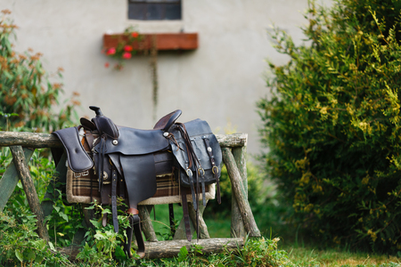 reigns: Old ornamental saddle on the wooden fence at summer time
