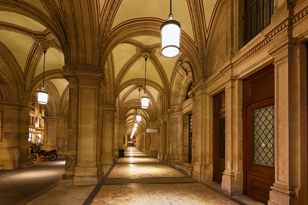 Vienna, Austria, January 06 2014: View of the interior corridor of the Opera State House at night time