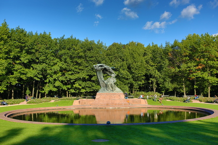 chopin: Warsaw, Poland, September 21, 2013: View of the Monument of Frederic Chopin in Lazienki Park in Warsaw at autumn time