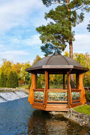 summerhouse: Novi Petrivtsi, Ukraine - October 18 2015: View of the summerhouse in Mezhyhirya Residence at autumn time Editorial