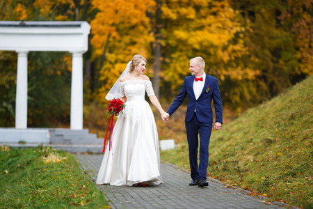 Wedding couple walking in a park in fall Stock Photo