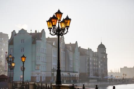 fishing village: Lanterns on the riverside of Fishing village in Kaliningrad, Russia