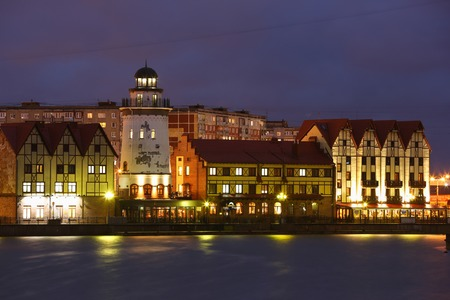 Fishing Village in Kaliningrad at evening time