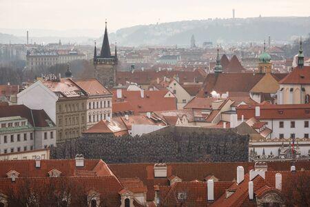 praga: Prague, Czech Republic, January 03 2014: View of a towers of Prague at winter time