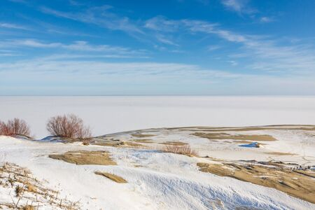 to spit: Landscape of the Curonian Spit at winter time Stock Photo