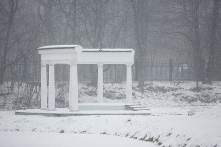 colonnade: Colonnade in a park at winter time Stock Photo