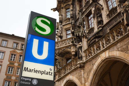 cityhall: Sign of subway nearby Cityhall in Munich Editorial