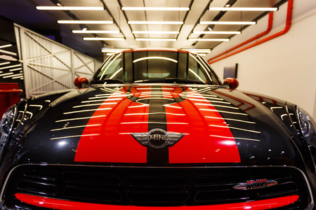 cooper: Munich, Germany - January 04 2016: Mini Cooper on the exibition in BMW World, Munich, Germany