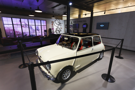 Munich, Germany - January 04 2016: Old Mini Cooper on the exibition in BMW World, Munich, Germany