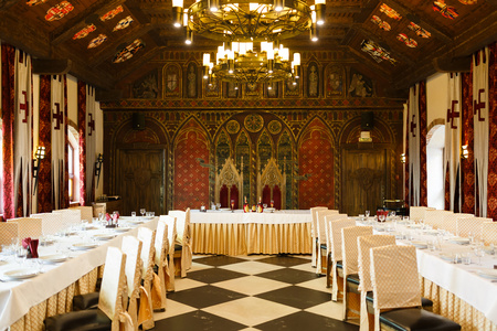 Kaliningrad, Russia, March 10 2016: Medieval style of wedding banquet in Nesselbeck castle