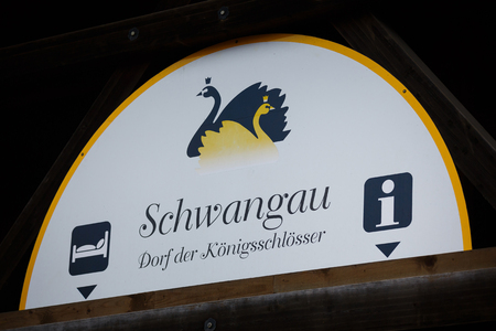 schwangau: Schwangau, Germany - January 06 2016: Symbol of the little town in southern Bavaria, located in a bus station Editorial