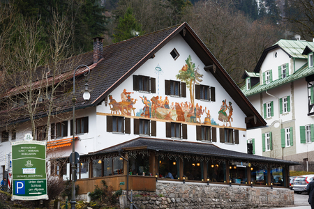 schwangau: Schwangau, Germany - January 06 2016: View of the painted cafe in Schwangau, a popular destination for tourists