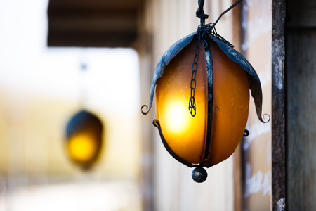 light chains: The city lanterns like an egg outdoor