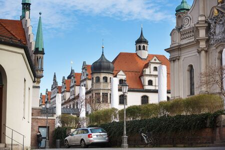 cityhall: Munich, Germany - January 08 2016: Buildings of Stadtsparkasse nearby the old Cityhall in centre of Munich