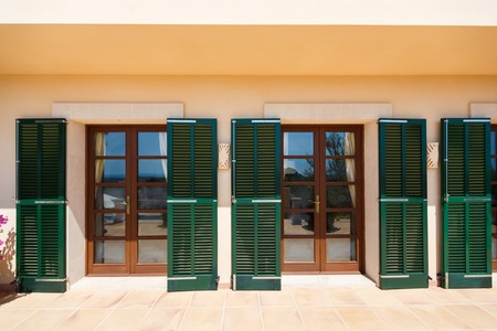 mediterranean home: The glass doors of the Spanish home nearby the Mediterranean Sea, Mallorca