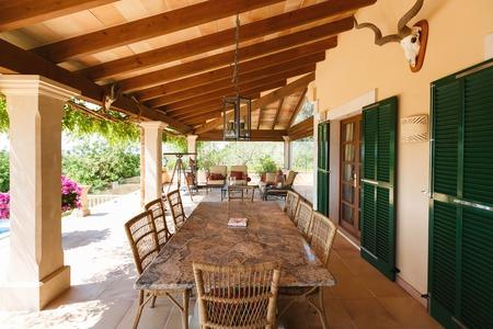 spanish home: The veranda of the Spanish home nearby the Mediterranean Sea, Mallorca Stock Photo
