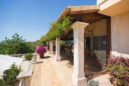 mediterranean home: The terrace of the Spanish home nearby the Mediterranean Sea, Mallorca