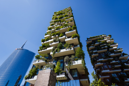 bosco: Milan, Italy - May 04 2016: Bosco Verticale, vertical forest apartment buildings in the Porta Nuova area of the city