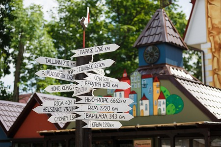 distances: Yantarny, Russia - June 01 2016: Index distances to cities around the world
