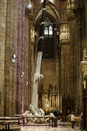 repairs: Milan, Italy - 04 May 2016: Repairs in the Duomo cathedral, famous landmark of the city