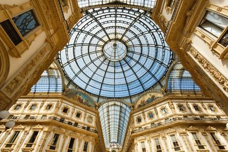 center city: Milan, Italy - May 04 2016: View of the roof of the Gallery Emanuele Vittorio, famous shopping mall of Europe