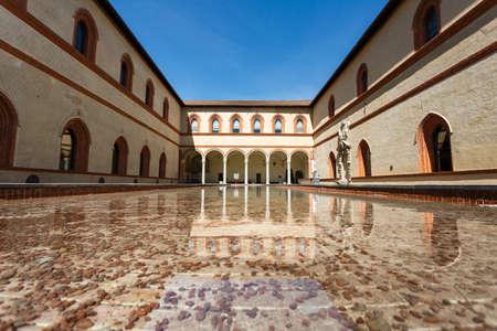 sforza: Milan, Italy - May 04 2016: Exterior of museum in the Sforza Castle, spring time